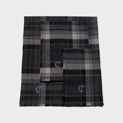Purple and grey checked wool dog blanket