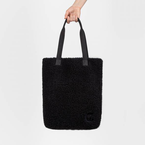 Black tote bag made of black wool