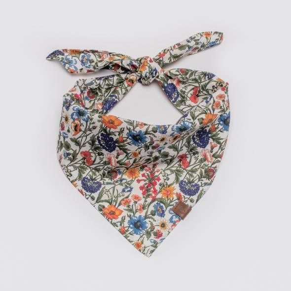 Tied Cloud7 fabric Bandana Cornfield with cornflower pattern