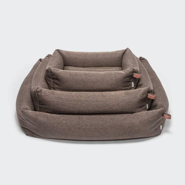 3 soft brown dog beds