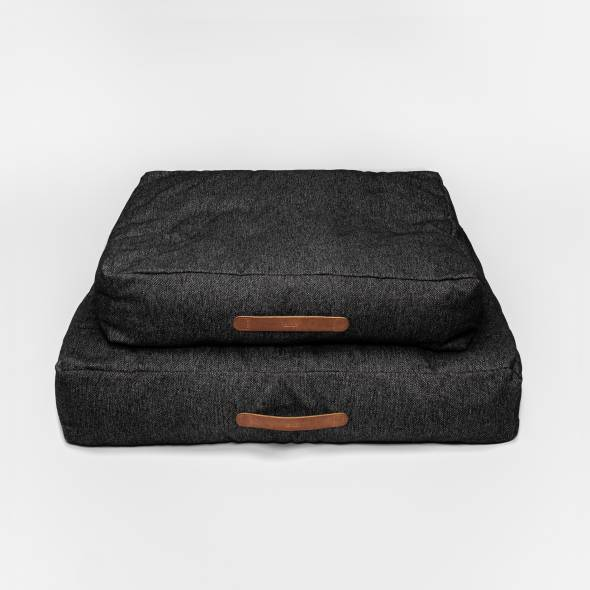 2 soft black dog beds