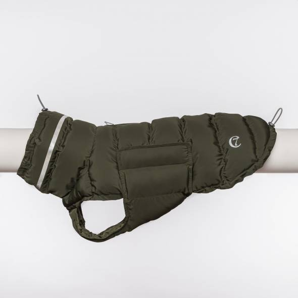 Padded Dog Coat in olive