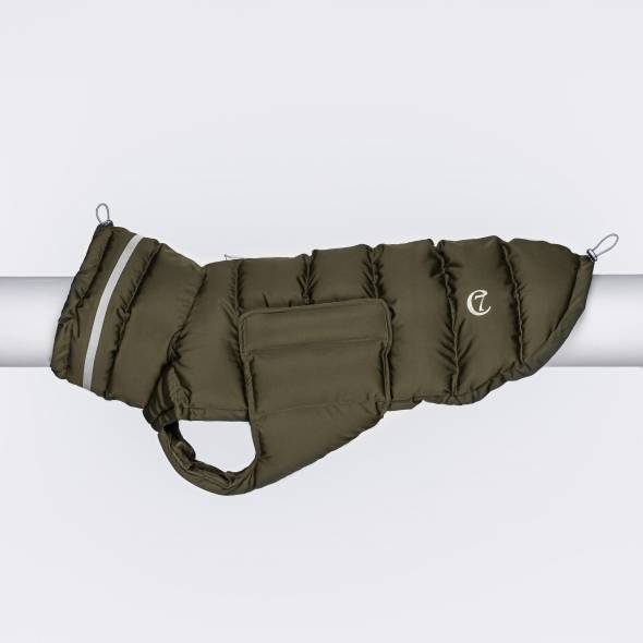 Wattierter Hundemantel in olive