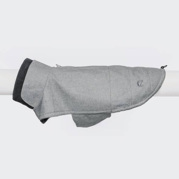 Light grey dog coat in wool look with dark grey fleece collar