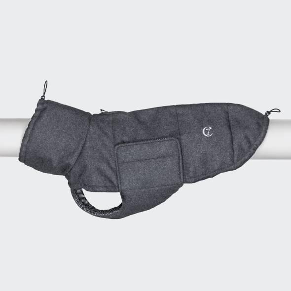 Dog coat dark grey in wool look
