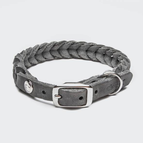 Closed grey braided leather collar for dogs with silver buckle