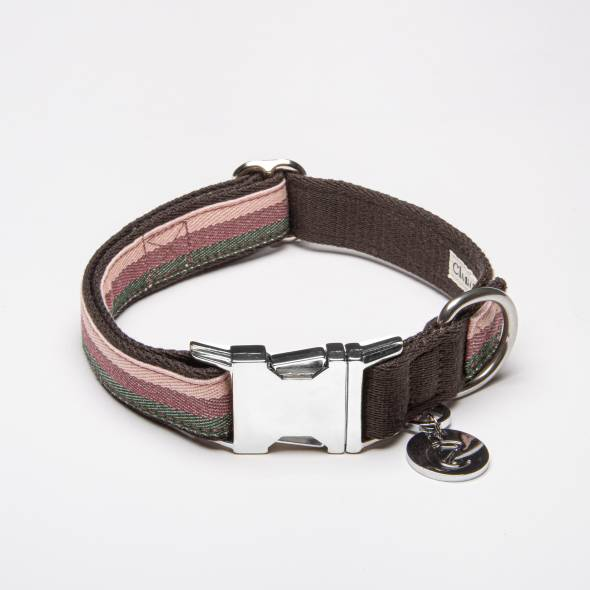 Closed dog collar made of fabric with stripes in pink, pink, olive and brown