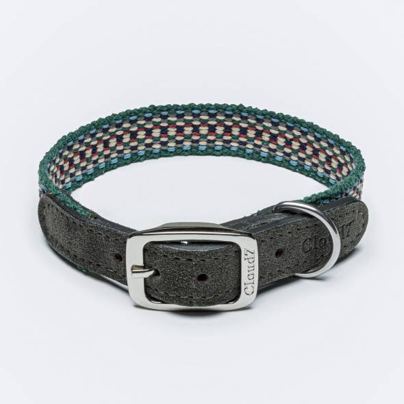 Ethno dog collar in green tones