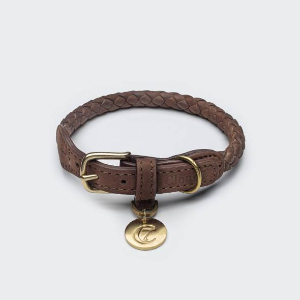 Roundly braided brown dog collar