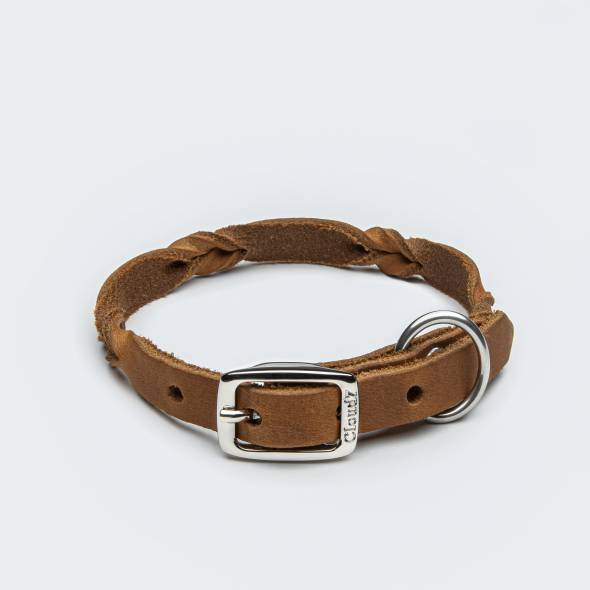 Extra thin light-weight leather dog collar with braided details for small dogs