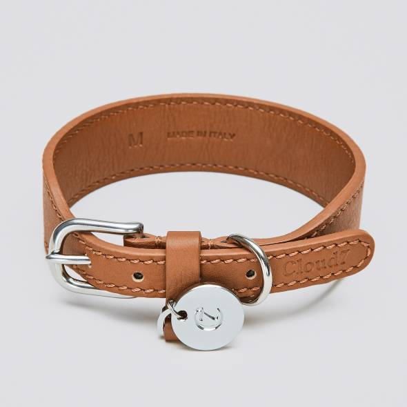 Light brown leather dog collar with silver closure