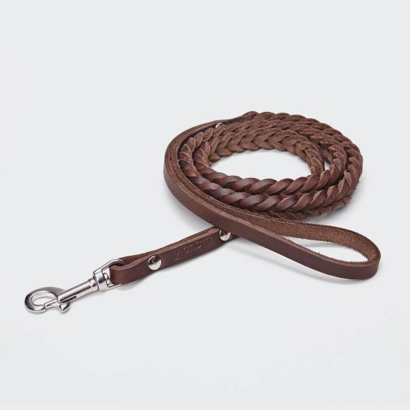 Draped dog leash in brown braided leather with silver carabiner