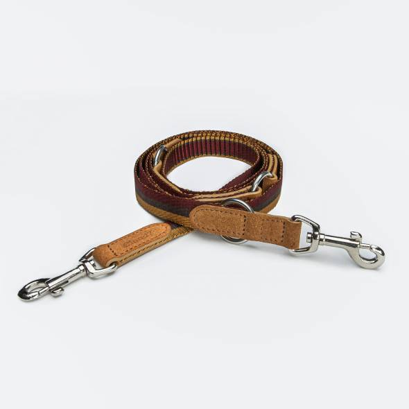 Dog leash with striped webbing in red and yellow with soft velours leather