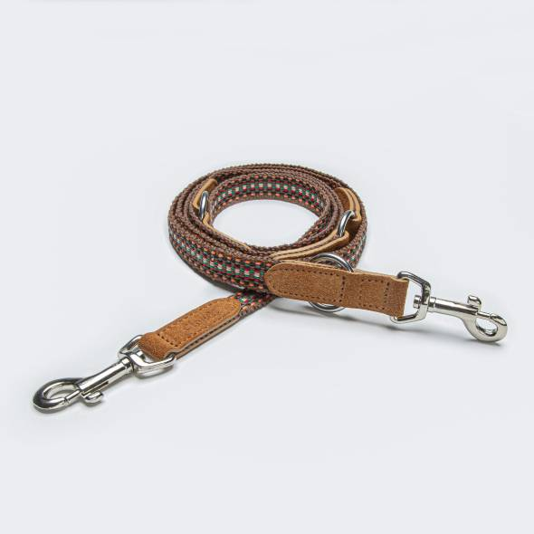 Dog leash webbing and velours leather in warm summer tones