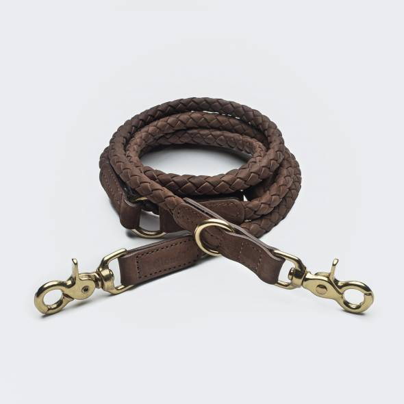 Roundly braided brown dog leash