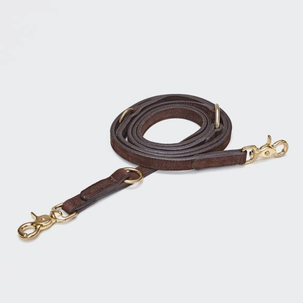 draped brown leather leash for dogs with golden metal elements