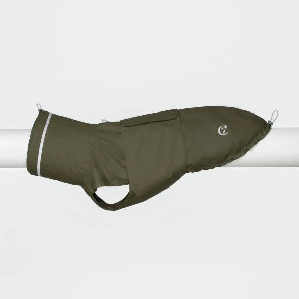 Dark green dog raincoat with reflective elements