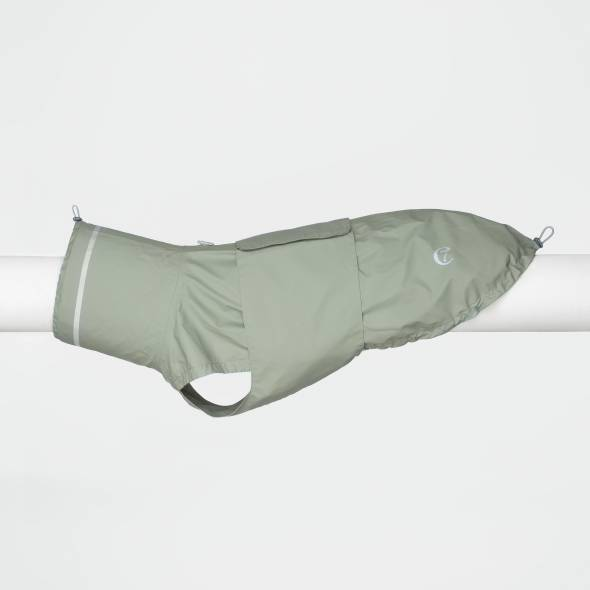 Dog Raincoat with reflective elements in soft green
