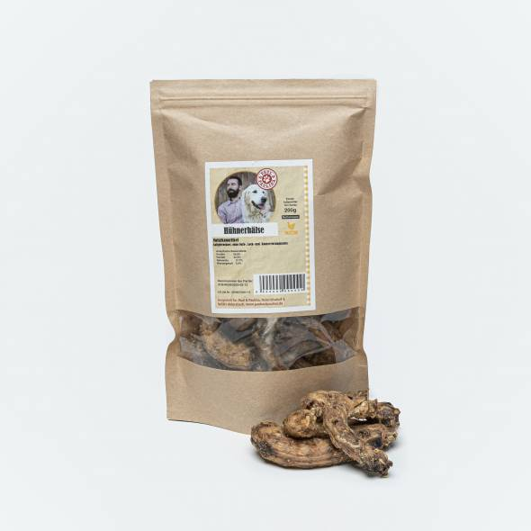 Chicken necks for dogs in a bag