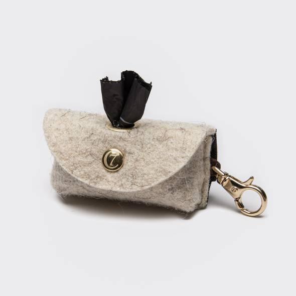 Doggy-Do-Bag Filz mit Karabiner - Gold