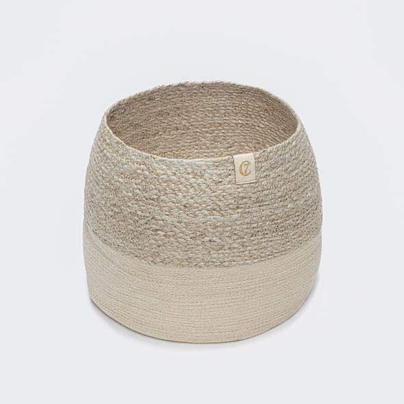 Storage basket for dog toys made from natural materials