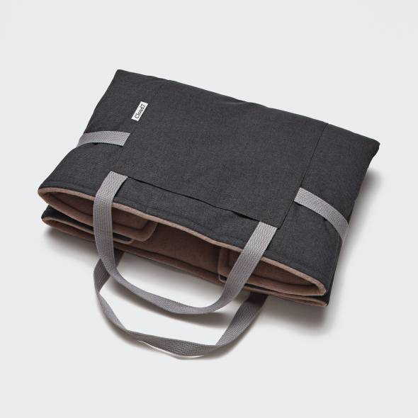 foldable dark grey fleece dog travel bed