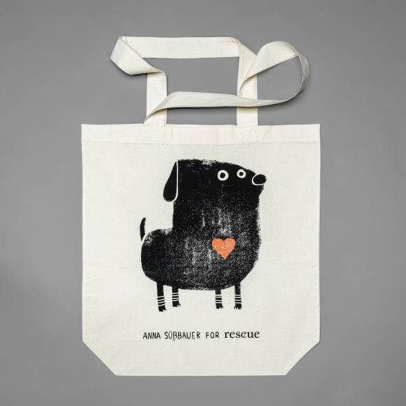Cotton Tote Bag with cute dog print and red heart
