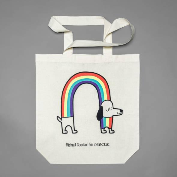Large cotton tote bag with rainbow sausage dog print for animal welfare