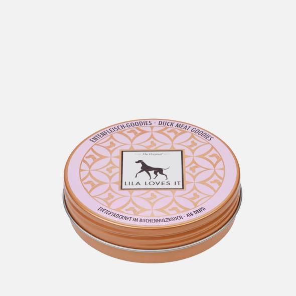 Hübsche rosa Blechdose für Hundeleckerlis